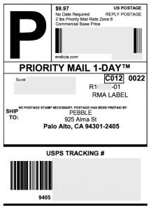 Pebble Return Shipping Label