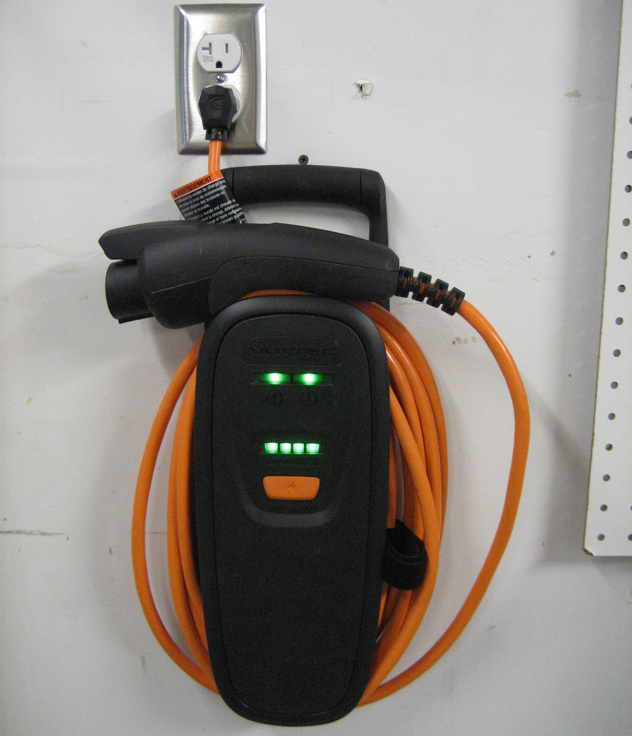 Chevy Volt 120V Charger Mounted on the Wall