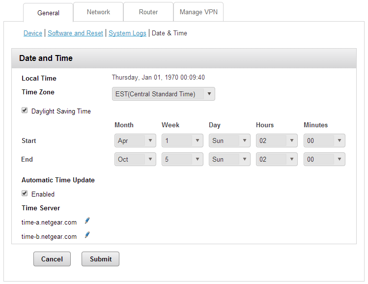 Netgear 6100D Date and Time Settings Page