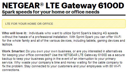 Sprint LTE for Home or Office (Yeah, right)
