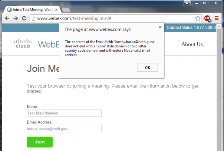 WebEx Doesn't Know About TLDs