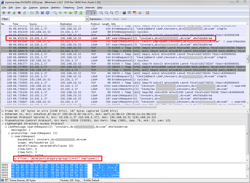 Wireshark tcpdump LDAP example
