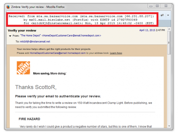 Home Depot - Bazaarvoice sending annoying emails