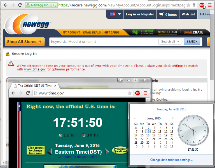 Newegg Time Error