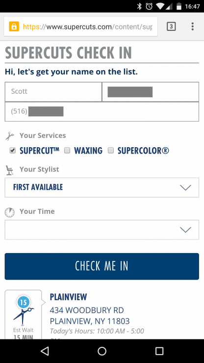 Supercuts Check-Not Screenshot