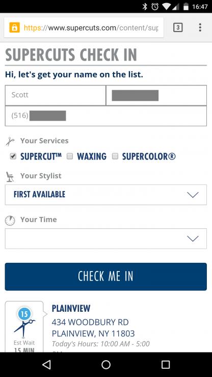 Supercuts Check-Not Screenshot