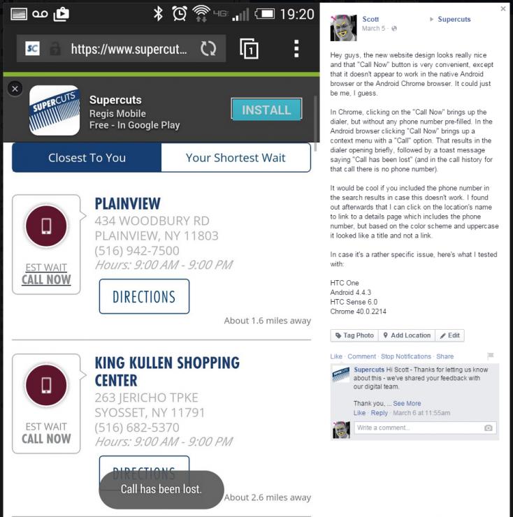 Supercuts Facebook Post - Call Now Button