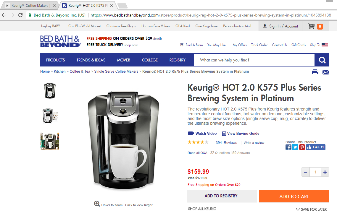 Keurig Model K Bed Bath And Beyond