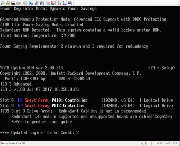 HP DL580 and P812 booting with Compellent SC220 attached