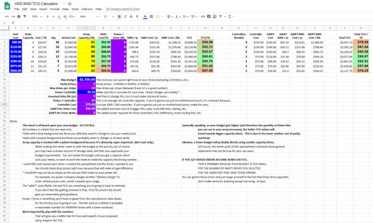 HDD RAID TCO Worksheet Sample
